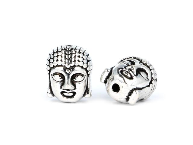 Kovová korálka - hlava Buddhu - starostrieborná