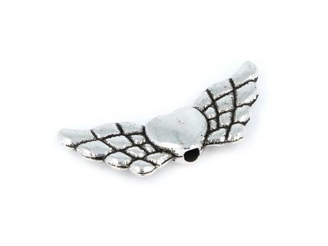Kovová korálka - srdce a krídla - starostrieborná
