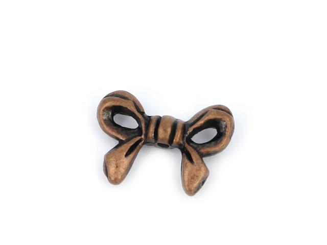 Kovová korálka - mašlička - medená