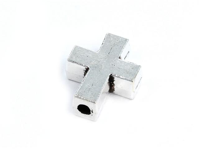 Kovová korálka - kríž - starostrieborná