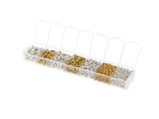 Box - kovové predeľovacie korálky 2-5mm - rôzne farby