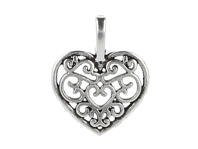 Kovový prívesok - filigránové srdce - starostrieborná