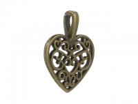 Kovový prívesok - filigránové srdce - starobronzová