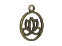 Kovový prívesok - lotosový kvet - starobronzová