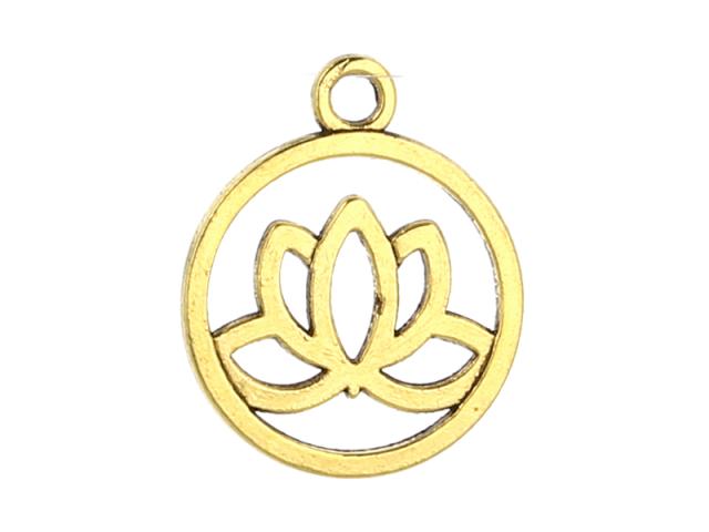 Kovový prívesok - lotosový kvet - starozlatá