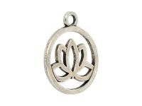 Kovový prívesok - lotosový kvet - starostrieborná