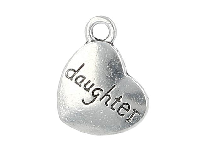 Kovový prívesok - srdiečko Daughter - starostrieborná