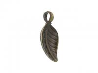 Kovový prívesok - list - starobronzová