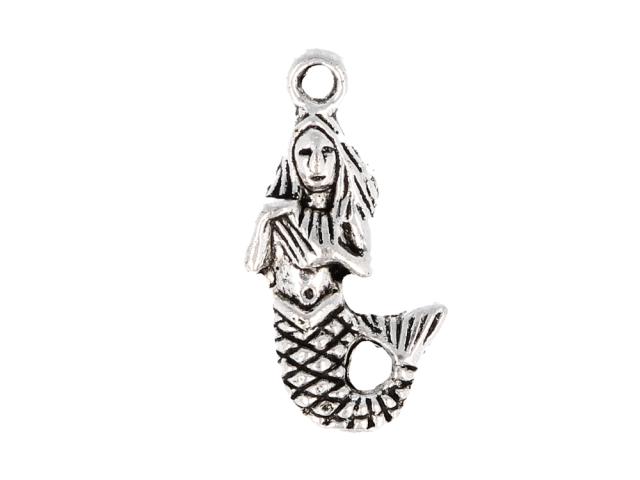Kovový prívesok - morská panna - starostrieborná