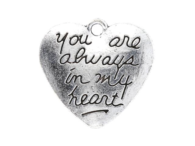 Kovový prívesok - srdce s nápisom - starostrieborná