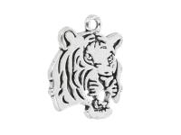 Kovový prívesok - hlava tigra - starostrieborná