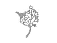 Kovový prívesok - strom a vtáčik - starostrieborná