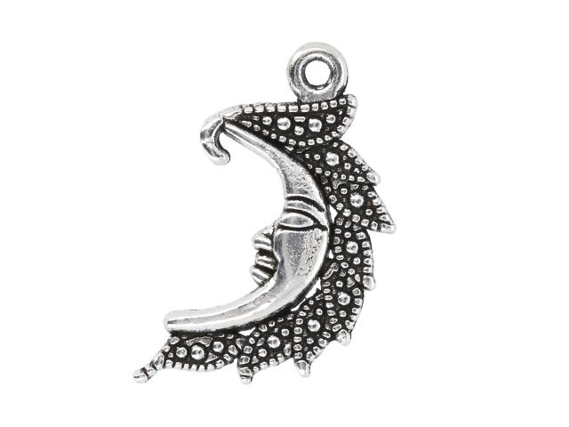 Kovový prívesok - filigránový mesiac - starostrieborná