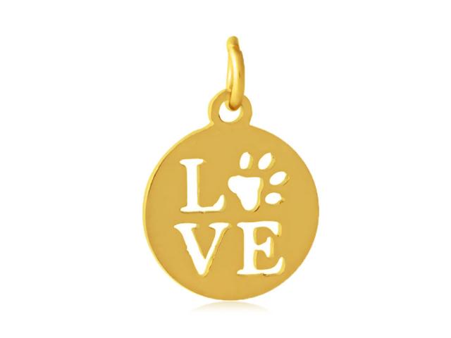 Prívesok z chirurgickej ocele - Pet Love - zlatá