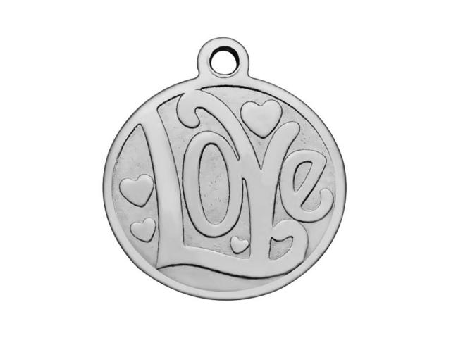 Prívesok z chirurgickej ocele plochý - Love