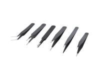 Kovové pinzety - čierna (sada 6ks)