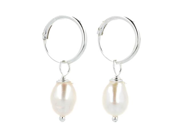 Strieborné náušnice (Ag925) a biele riečne perly