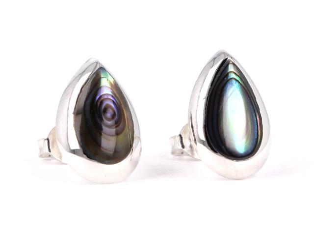 Strieborné náušnice v tvare slzy (Ag925) a Paua perleť