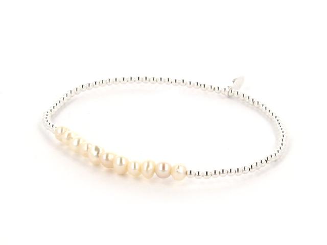 Náramok biele riečne perly + Ag925