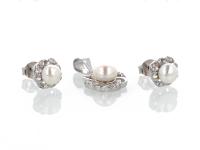 Strieborná súprava (Ag925) kvetinový prívesok a náušnice biela riečna perla
