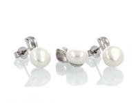 Strieborná súprava (Ag925) prívesok a náušnice biela riečna perla