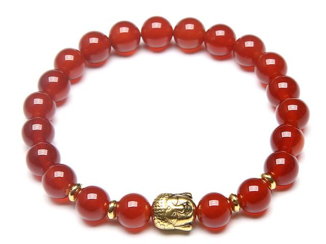 Zlatý Buddha náramok červený achát