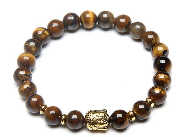 Zlatý Buddha náramok tigrie oko