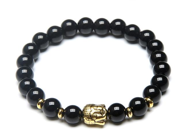 Zlatý Buddha náramok čierny achát