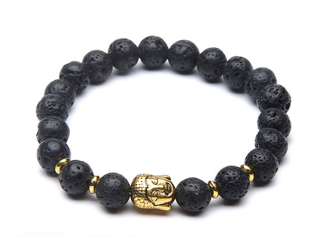 Zlatý Buddha náramok lávový kameň