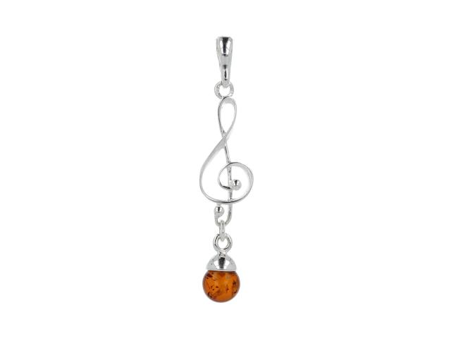 Prívesok jantár - husľový kľúč