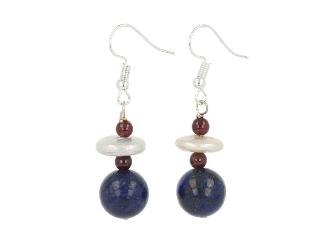 Náušnice lapis lazuli a riečna perla