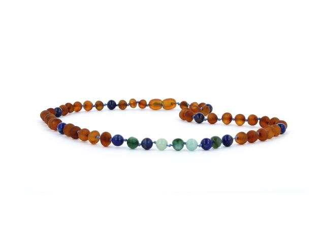 Náhrdelník jantár koňakový + lapis lazuli, amazonit a africký jadeit