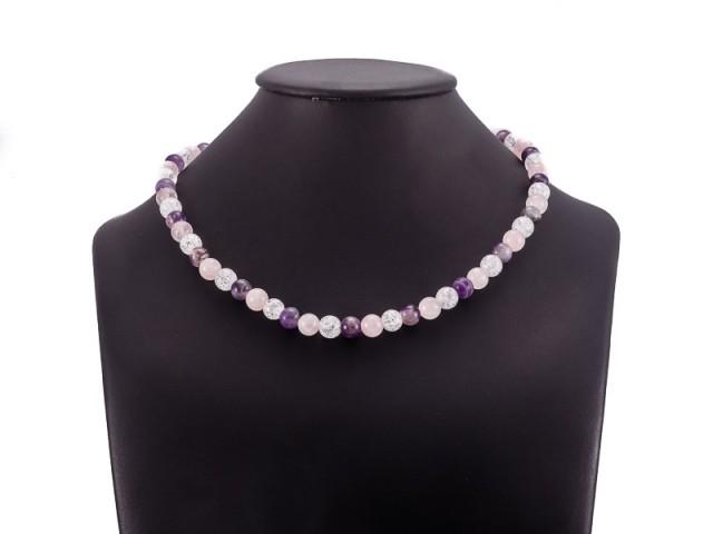 Guličkový náhrdelník ametyst, ruženín a krištáľ