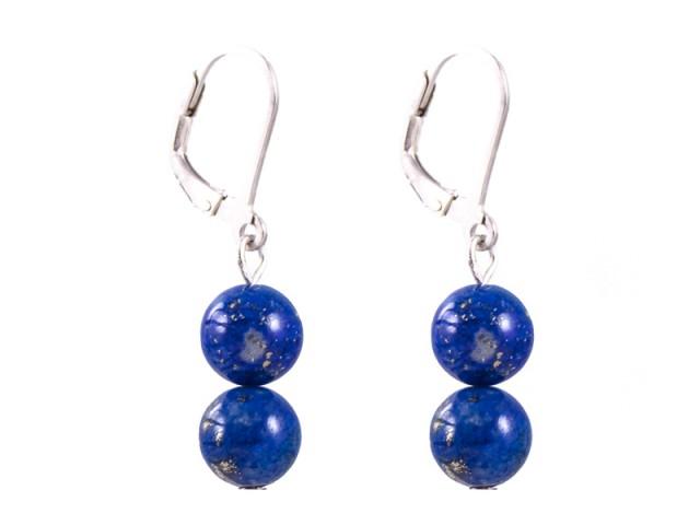 Náušnice lapis lazuli - 2 guličky