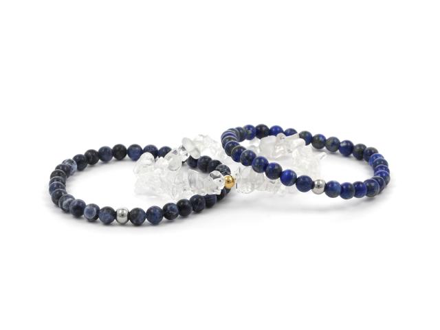 Trojnáramok lapis lazuli, sodalit a krištáľ