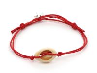 Nastaviteľný náramok mušľa Kauri a hviezdica - červený