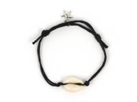 Nastaviteľný náramok mušľa Kauri a hviezdica - čierny