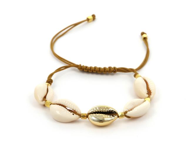 Náramok natural a zlatá mušľa Kauri