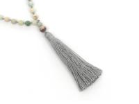 Náhrdelník amazonit, lávový kameň a drevené korálky so strapcom