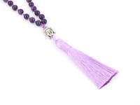 Buddha náhrdelník ametyst so strapcom