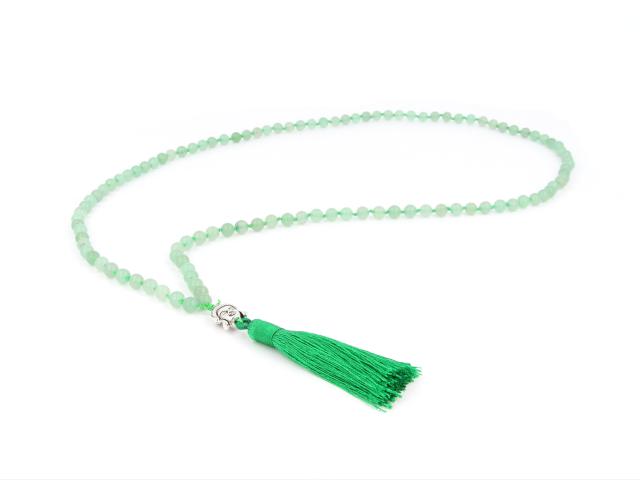 Buddha náhrdelník avanturín so strapcom