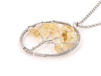 Oceľový náhrdelník s príveskom strom života - citrín