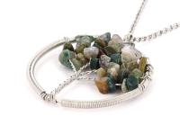Oceľový náhrdelník s príveskom strom života - indiánsky achát