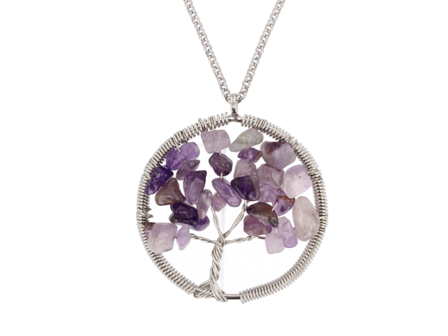Oceľový náhrdelník s príveskom strom života - ametyst