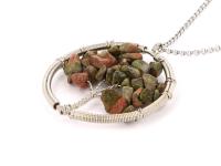 Oceľový náhrdelník s príveskom strom života - unakit