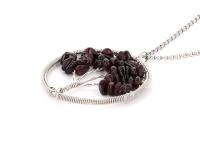 Oceľový náhrdelník s príveskom strom života - granát