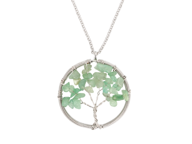 Oceľový náhrdelník s príveskom strom života - avanturín