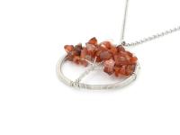 Oceľový náhrdelník s príveskom strom života - karneol