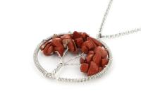 Oceľový náhrdelník s príveskom strom života - červený jaspis