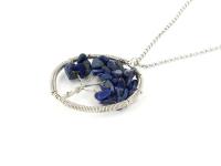 Oceľový náhrdelník s príveskom strom života - lapis lazuli